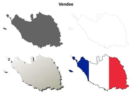 Vendee, Pays de la Loire blank detailed outline map set