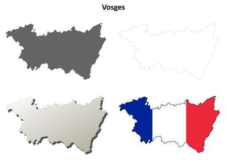 detailed: Vienne, Poitou-Charentes blank detailed outline map set Illustration