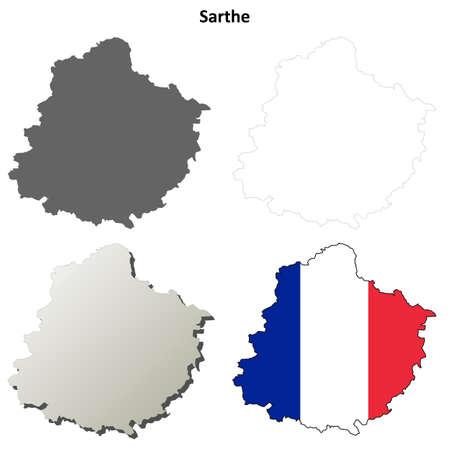 Sarthe, Pays de la Loire blank detailed outline map set