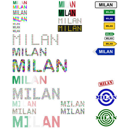 milan: Milan (Milano) text design set - writings, boards, stamps
