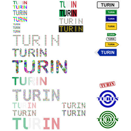 turin: Turin (Torino) text design set - writings, boards, stamps Illustration