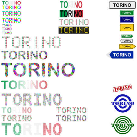 turin: Torino (Turin) text design set - writings, boards, stamps Illustration