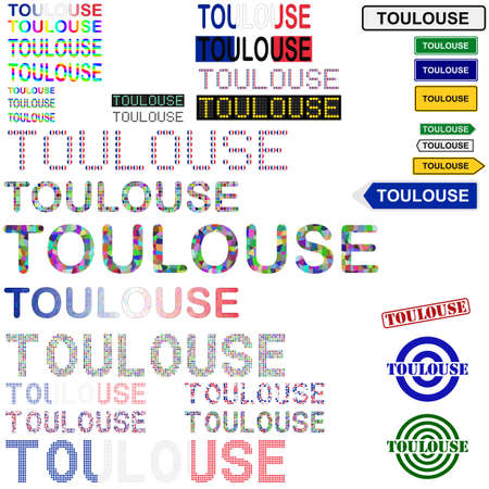 toulouse: Toulouse text design set - writings, boards, stamps
