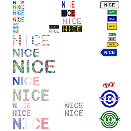 nice france: Nice (Nizza) text design set - writings, boards, stamps