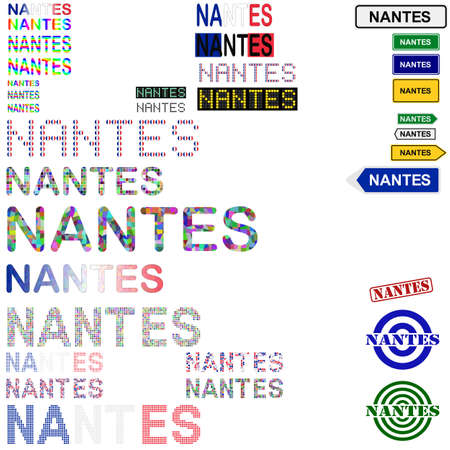 french board: Nantes text design set - writings, boards, stamps