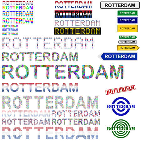 rotterdam: Rotterdam text design set - writings, boards, stamps