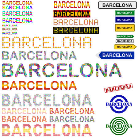 Barcelona text design set - writings, boards, stamps - Spanish version