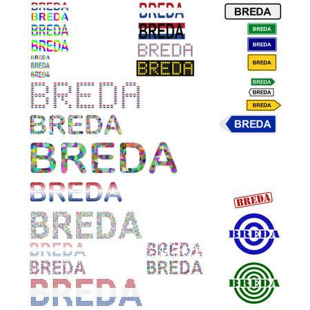 breda: Breda text design set - writings, boards, stamps