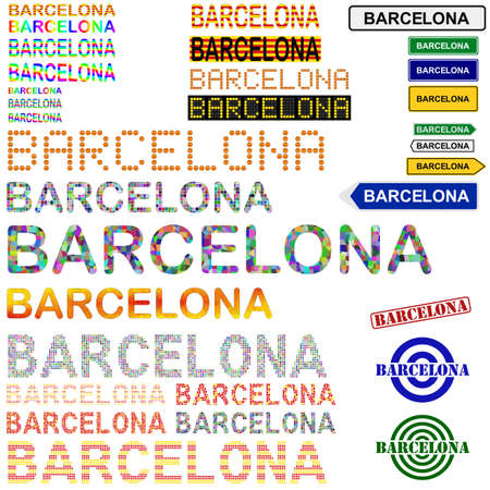 catalonian: Barcelona text design set - writings, boards, stamps - Catalonian version Illustration