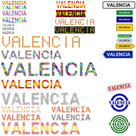 valencia: Valencia text design set - writings, boards, stamps