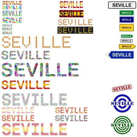 sevilla: Seville (Sevilla) text design set - writings, boards, stamps
