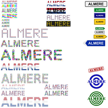 almere: Almere text design set - writings, boards, stamps