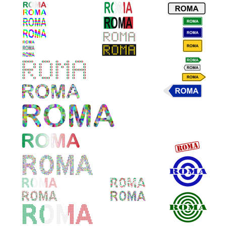 roma: Roma (Rome) text design set - writings, boards, stamps