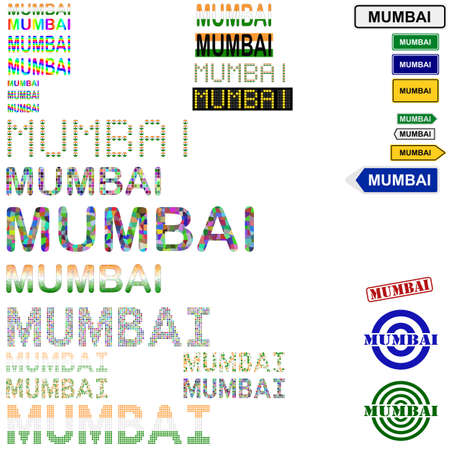 bombay: Mumbai (Bombay) text design set - writings, boards, stamps