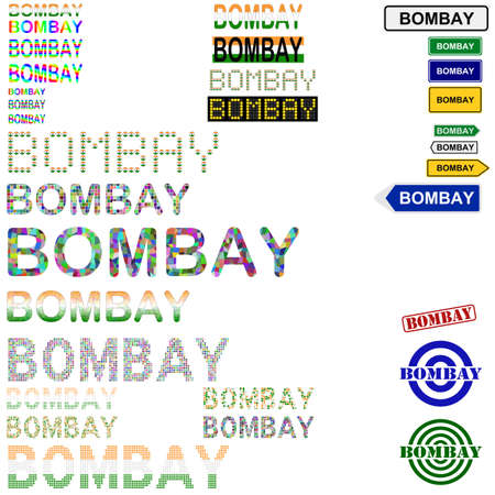 bombay: Bombay (Mumbai) text design set - writings, boards, stamps