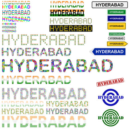 hyderabad: Hyderabad text design set - writings, boards, stamps Illustration