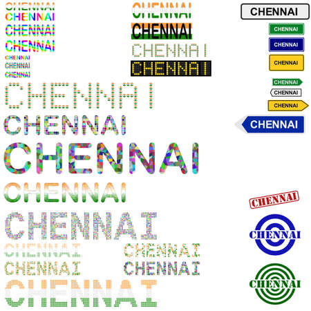 madras: Chennai (Madras) text design set - writings, boards, stamps Illustration