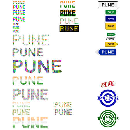 pune: Pune text design set - writings, boards, stamps