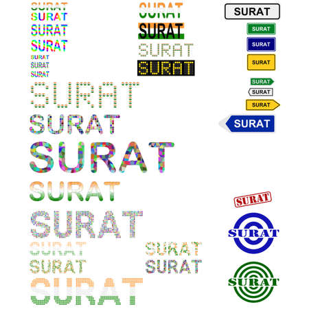 Surat (Suryapur) text design set - writings, boards, stamps