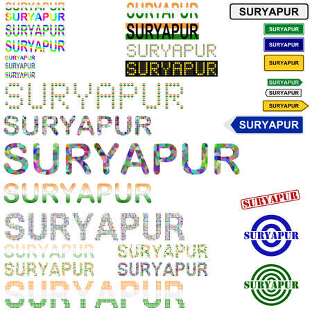 surat: Suryapur (Surat) text design set - writings, boards, stamps