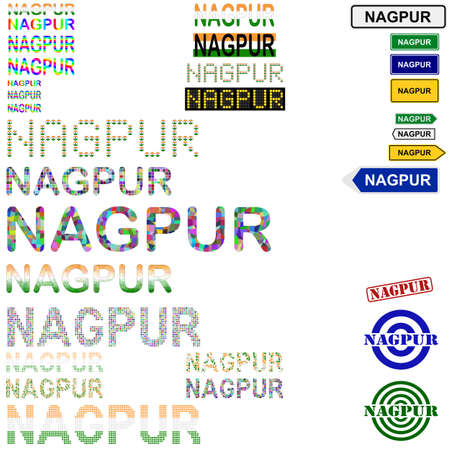 nagpur: Nagpur text design set - writings, boards, stamps Illustration