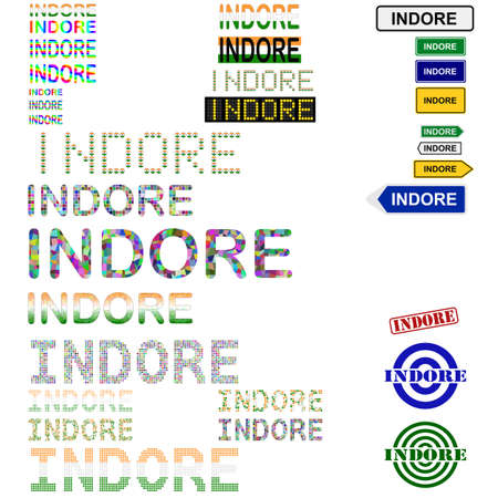 Indore text design set - writings, boards, stamps Illustration