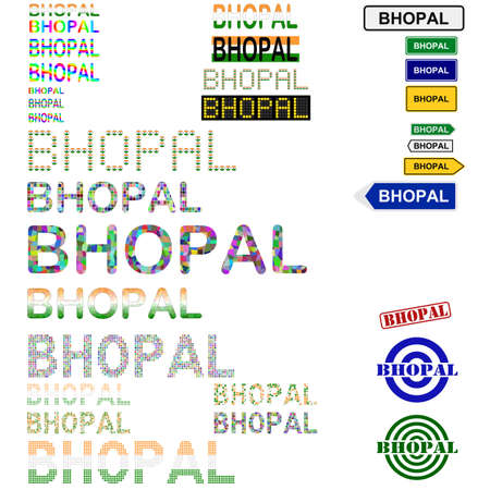 bhopal: Bhopal text design set - writings, boards, stamps