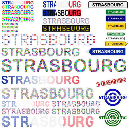 strasbourg: Strasbourg text design set - writings, boards, stamps Illustration