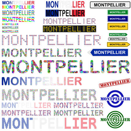 french board: Montpellier text design set - writings, boards, stamps Illustration