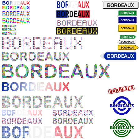 Bordeaux text design set - writings, boards, stamps