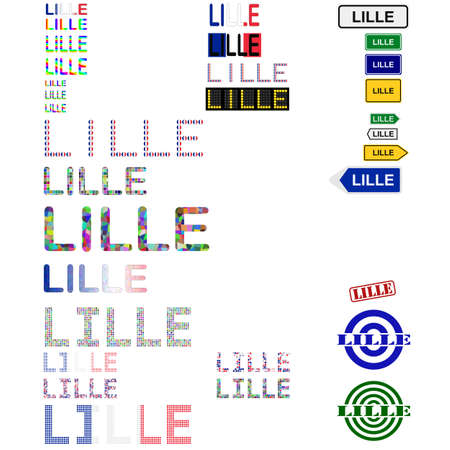 lille: Lille text design set - writings, boards, stamps