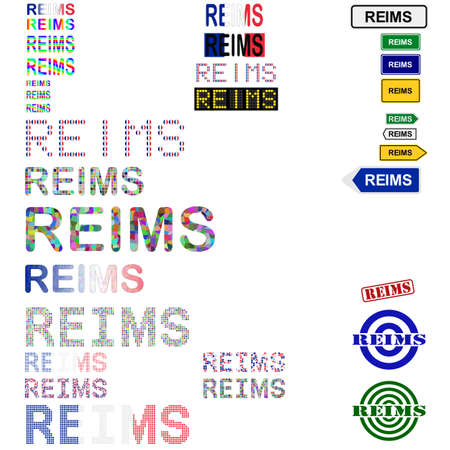 reims: Reims text design set - writings, boards, stamps Illustration
