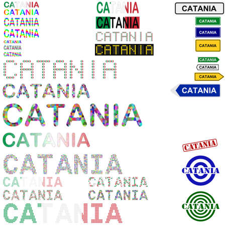 catania: Catania text design set - writings, boards, stamps