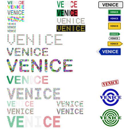 venezia: Venice (Venezia) text design set - writings, boards, stamps