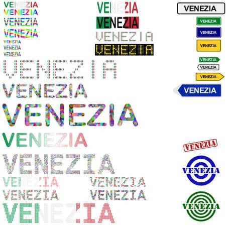 venezia: Venezia (Venice) text design set - writings, boards, stamps Illustration