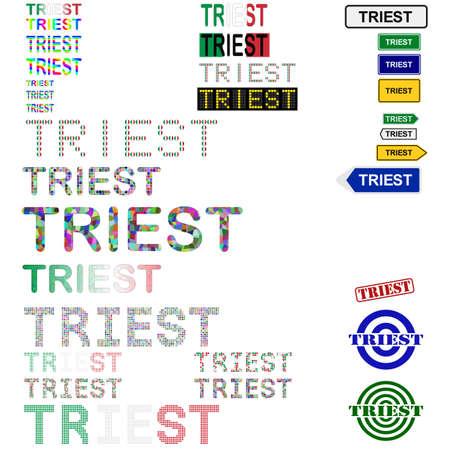 venezia: Triest (Trieste) text design set - writings, boards, stamps Illustration