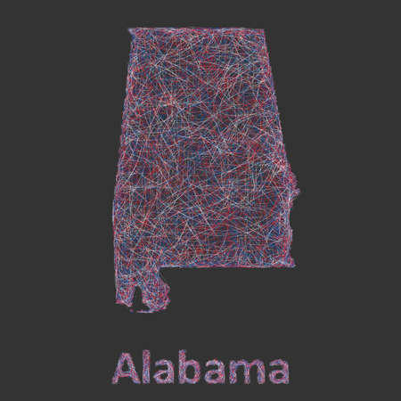 alabama state: Colorful line art design map of Alabama state