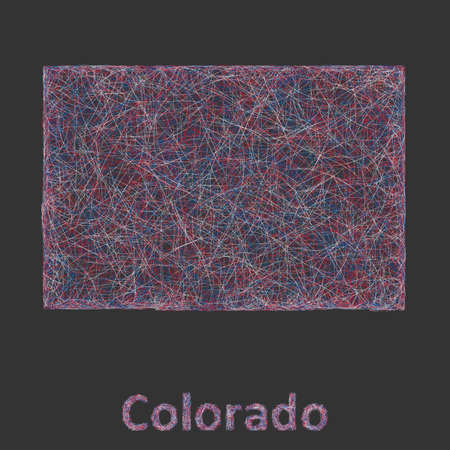 denver colorado: Colorado line art map- red, blue and white on black background