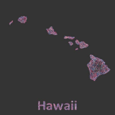 hawaii islands: Hawaii Islands line art map - red, blue and white on black background