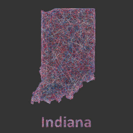 indianapolis: Indiana line art map - red, blue and white on black background