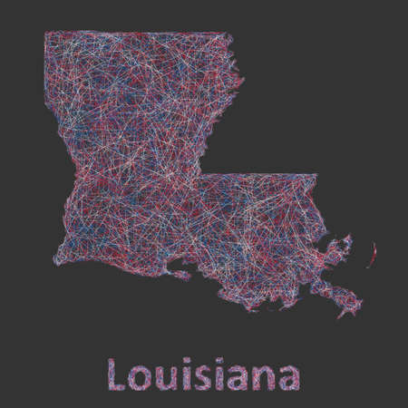 coastline: Louisiana line art map - red, blue and white on black background