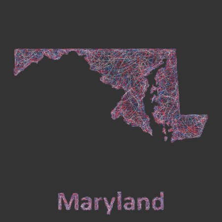 md: Maryland line art map - red, blue and white on black background