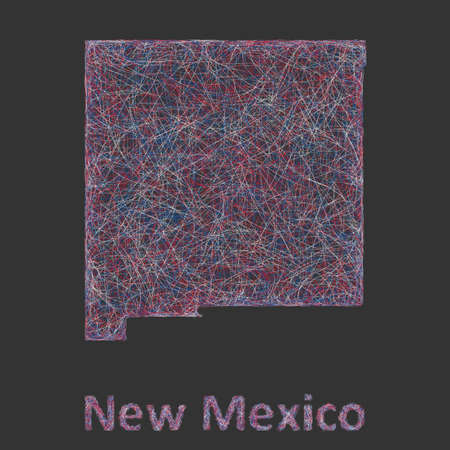 nm: New Mexico line art map - red, blue and white on black background