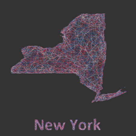 new york state: New York state line art map - red, blue and white on black background