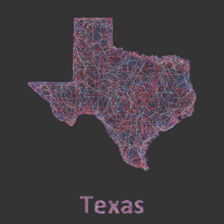 tx: Texas line art map - red, blue and white on black background