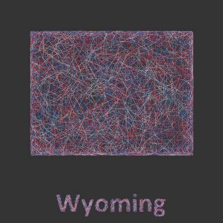 와이오밍 라인 아트지도 - 빨강, 파랑 및 검정색 배경에 흰색