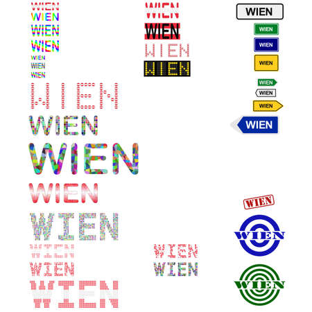 wien: Wien (Vienna) text design set - writings, boards, stamps Illustration