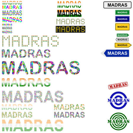 Madras: Madras (Chennai) text design set - writings, boards, stamps Stock Photo