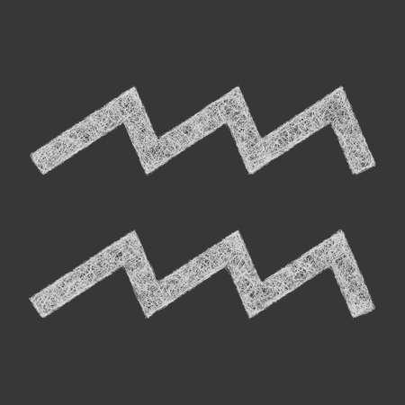 Aquarius zodiac sign line art design on black background