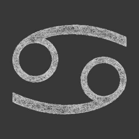 cancer zodiac: Cancer zodiac sign line art design on black background